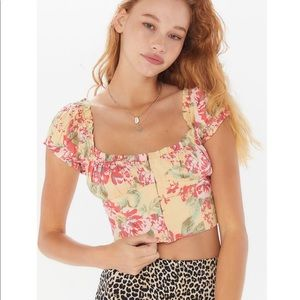 Amour Floral Cap Sleeve Cropped Top